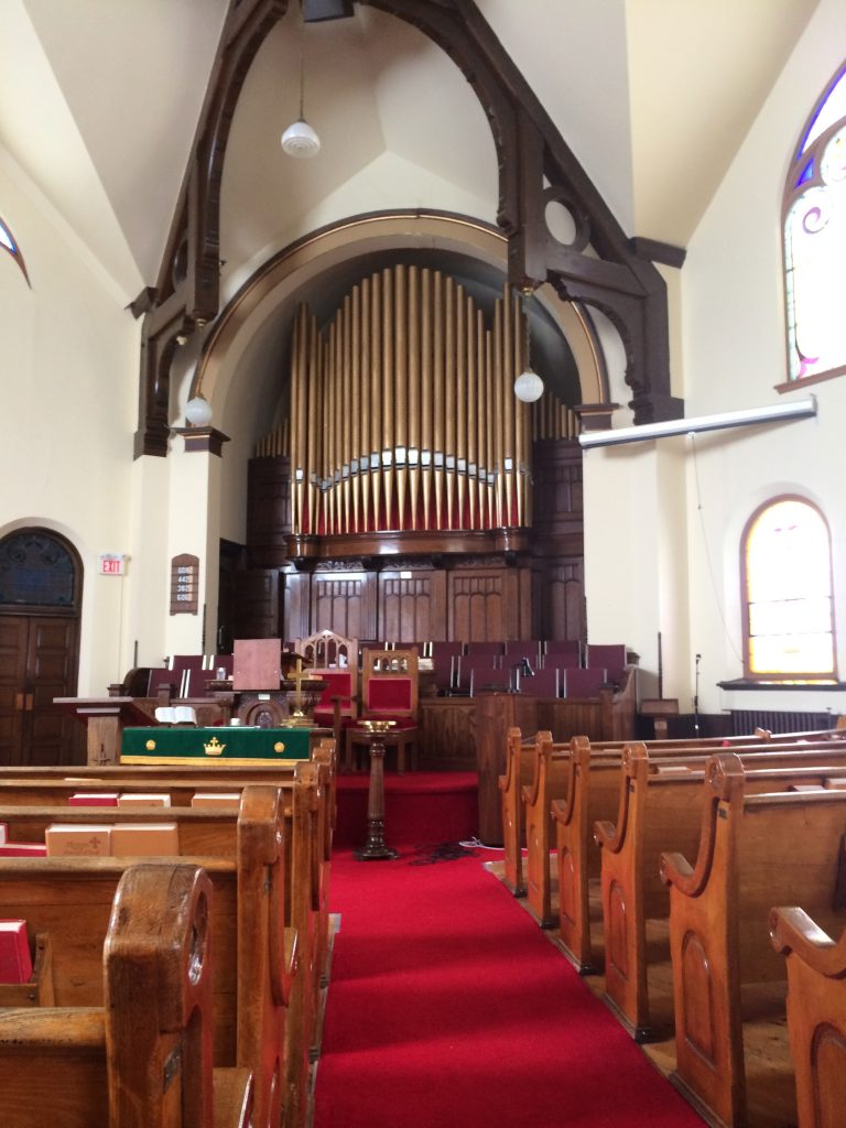 The inside of the sanctuary at College Ave United Church.
